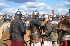 Medieval battle reconstruction Voinovo Pole (Warriors Field) near Drakino, Russia Stock Images