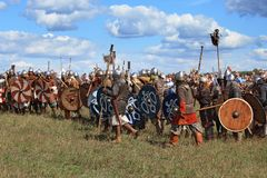Medieval battle reconstruction Voinovo Pole (Warriors' Field) near Drakino, Russia Royalty Free Stock Photos