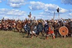 Medieval battle reconstruction Voinovo Pole (Warriors' Field) near Drakino, Russia. DRAKINO, RUSSIA - AUGUST 23: Medieval battle reconstruction Voinovo Pole ( royalty free stock photos