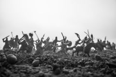 Medieval battle scene with cavalry and infantry. Silhouettes of figures as separate objects, fight between warriors on sunset. Foggy background. Artwork royalty free stock photo