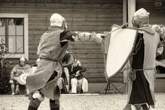 Medieval battle sepia Stock Image