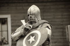 Medieval battle sepia Royalty Free Stock Photo