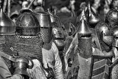 Medieval battle sepia Stock Images