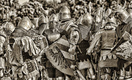 Medieval battle sepia Stock Photography