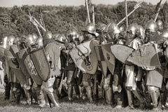 Medieval battle sepia Royalty Free Stock Image