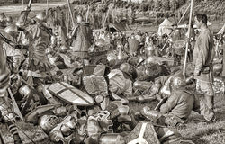 Medieval battle sepia Royalty Free Stock Photography