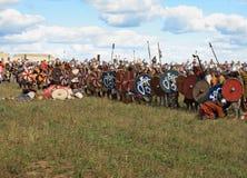 Medieval battle show Voinovo Pole (Warriors' Field). DRAKINO, RUSSIA - AUGUST 23: Free Medieval battle show Voinovo Pole (Warriors' Field) on August 23, 2014 royalty free stock image