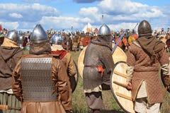 Medieval battle show Voinovo Pole (Warriors' Field). DRAKINO, RUSSIA - AUGUST 23: Free Medieval battle show Voinovo Pole (Warriors' Field) on August 23, 2014 royalty free stock photo