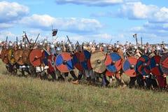 Medieval battle show Voinovo Pole (Warriors' Field). DRAKINO, RUSSIA - AUGUST 23: Free Medieval battle show Voinovo Pole (Warriors' Field) on August 23, 2014 stock images