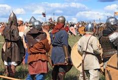 Medieval battle show Voinovo Pole (Warriors' Field). DRAKINO, RUSSIA - AUGUST 23: Free Medieval battle show Voinovo Pole (Warriors' Field) on August 23, 2014 stock image