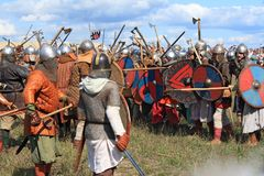Medieval battle show Voinovo Pole (Warriors' Field) Stock Images
