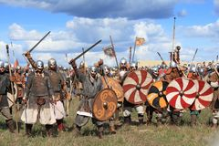 Medieval battle show Voinovo Pole (Warriors' Field) Royalty Free Stock Photo