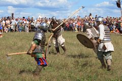 Medieval battle show Voinovo Pole (Warriors' Field) Stock Photography