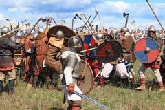 Medieval battle show Voinovo Pole (Warriors' Field). DRAKINO, RUSSIA - AUGUST 23: Free Medieval battle show Voinovo Pole (Warriors' Field) on August 23, 2014 stock photos