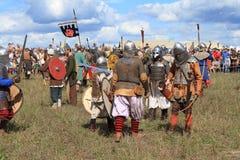 Medieval battle show Voinovo Pole (Warriors' Field). DRAKINO, RUSSIA - AUGUST 23: Free Medieval battle show Voinovo Pole (Warriors' Field) on August 23, 2014 royalty free stock photos