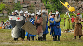 Medieval battle of the 13th century. Days of medieval culture and festival Vyborg Thunder Siege, legendary events Thirteen Years' War, Vyborg, Russia Stock Photos