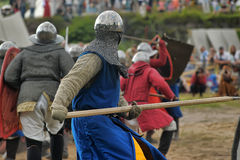Medieval battle of the 13th century. Days of medieval culture and festival Vyborg Thunder Siege, legendary events Thirteen Years' War, Vyborg, Russia Royalty Free Stock Photos