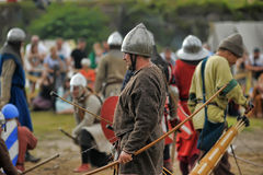 Medieval battle of the 13th century. Days of medieval culture and festival Vyborg Thunder Siege, legendary events Thirteen Years' War, Vyborg, Russia Royalty Free Stock Photo