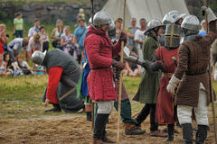 Medieval battle of the 13th century. Days of medieval culture and festival Vyborg Thunder Siege, legendary events Thirteen Years' War, Vyborg, Russia Stock Photography