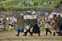Medieval battle of the 13th century. Days of medieval culture and festival Vyborg Thunder Siege, legendary events Thirteen Years' War, Vyborg, Russia Stock Photo