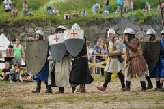 Medieval battle of the 13th century Royalty Free Stock Image