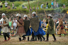 Medieval battle of the 13th century. Days of medieval culture and festival Vyborg Thunder Siege, legendary events Thirteen Years' War, Vyborg, Russia Royalty Free Stock Image