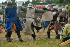 Medieval battle of the 13th century. Days of medieval culture and festival Vyborg Thunder Siege, legendary events Thirteen Years' War, Vyborg, Russia Royalty Free Stock Photography