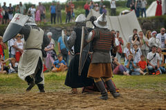 Medieval battle of the 13th century. Days of medieval culture and festival Vyborg Thunder Siege, legendary events Thirteen Years' War, Vyborg, Russia Stock Image