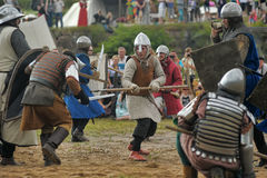 Medieval battle of the 13th century. Days of medieval culture and festival Vyborg Thunder Siege, legendary events Thirteen Years' War, Vyborg, Russia Royalty Free Stock Images