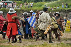 Medieval battle of the 13th century. Days of medieval culture and festival Vyborg Thunder Siege, legendary events Thirteen Years' War, Vyborg, Russia Stock Images