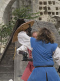 Medieval battle theatrical performance in Les Baux-de-Provence, France Royalty Free Stock Photography