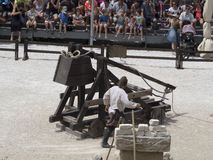 Medieval battle theatrical performance in Les Baux-de-Provence, France Stock Image