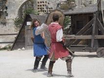 Medieval battle theatrical performance in Les Baux-de-Provence, France Stock Photo