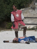 Medieval battle theatrical performance in Les Baux-de-Provence, France Stock Photography