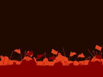 Medieval battlefield. After the battle. Flags, swords, spears an. D arrows. Vector illustration Royalty Free Stock Photography
