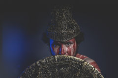 Medieval, bearded man warrior with metal helmet and shield, wild Royalty Free Stock Photography