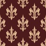 Medieval beige fleur-de-lis floral pattern Stock Photography