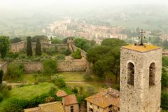 Medieval bell tower in San Gimignano, Italy. royalty free stock photos