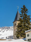 Medieval bell tower of village church in the Alps - 1. Medieval bell tower of a small village church in the Swiss Alps - 1 Stock Photos