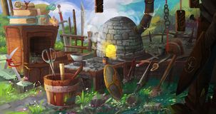 Medieval BlackSmith`s Shop. Video Game`s Digital CG Artwork, Colorful Concept Illustration, Realistic Cartoon Style Background Royalty Free Stock Images