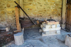 Medieval Blacksmith Workshop - Bellows and Forge Royalty Free Stock Image