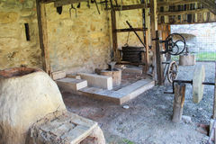 Medieval Blacksmith Workshop. Part of an outdoor medieval smith's workshop preserved inside the courtyard of the Fagaras fortress, Romania Royalty Free Stock Photography