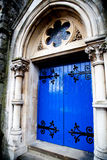 Medieval blue front door Stock Photo