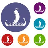 Medieval boat icons set Stock Photography