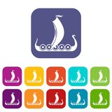 Medieval boat icons set Royalty Free Stock Photo