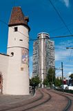medieval Bollwerk tower and european tower in Mulhouse Royalty Free Stock Images