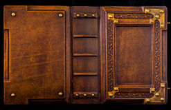 Medieval book cover. Leather bound with brass corners Royalty Free Stock Image