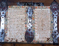 Medieval Book. Decorated with iron ornaments Stock Photos