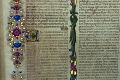 Medieval book detail close up manuscript. Medieval book detail close up writing hand script stock images