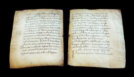 Medieval book sheets on black isolated background